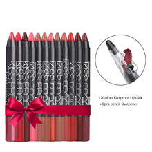 MR0011 New 12 Color/Pack KISS PROOF Sexy Beauty Waterproof Lipstick Pen Lasting Do Not Fade Gift 1Pcs Pencil Sharpener