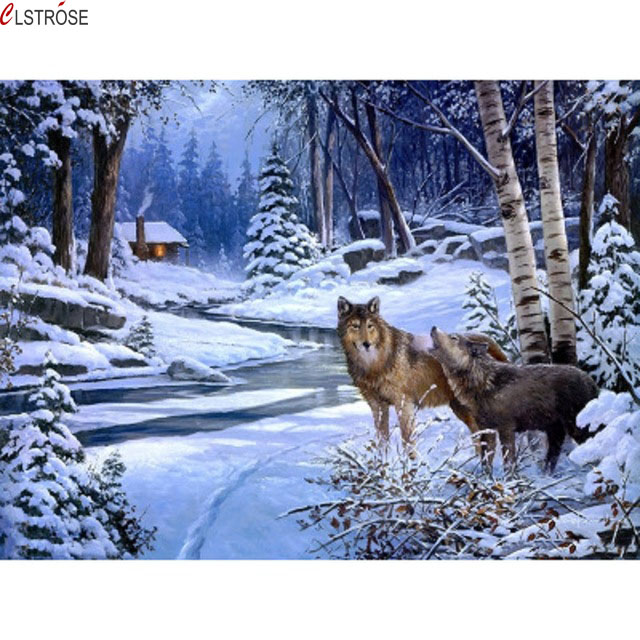 CLSTROSE Direct Selling New Arrival Animal Wolf Snow By Numbers Diy Hand Painted On The Wall Home Decor For Living Room Art