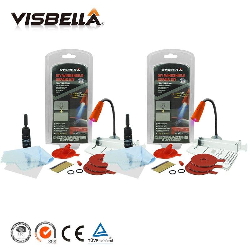 VISBELLA 2pcs Car Window Repair Windscreen Scratch Chip Crack Restore Fix Auto Windshield Repair Kit Window Glass Polishing Kit