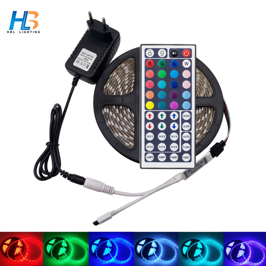 HBL RGB Led Strip 4M 8M SMD5050 non waterproof LED Strip Light 5M 10M led tape+ IR Remote Controller+DC12V Power Adapter