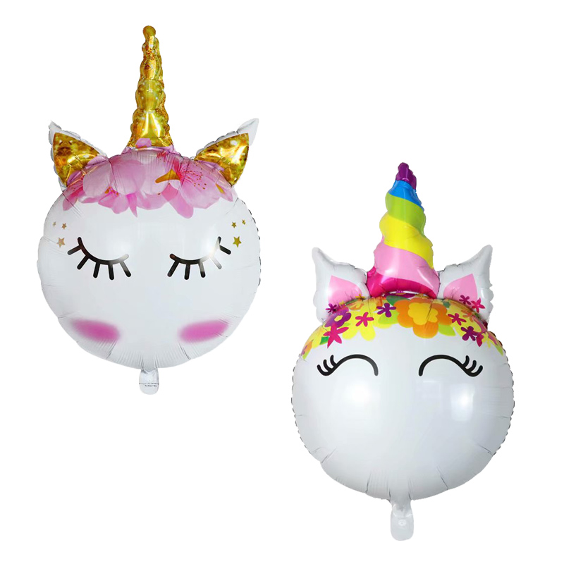 <font><b>10</b></font>/30/50pcs Unicorn Head Foil Balloons Rainbow unicorn Balloon Kids Toys <font><b>Birthday</b></font> party theme Unicorn Party <font><b>Decorations</b></font> Supplies image