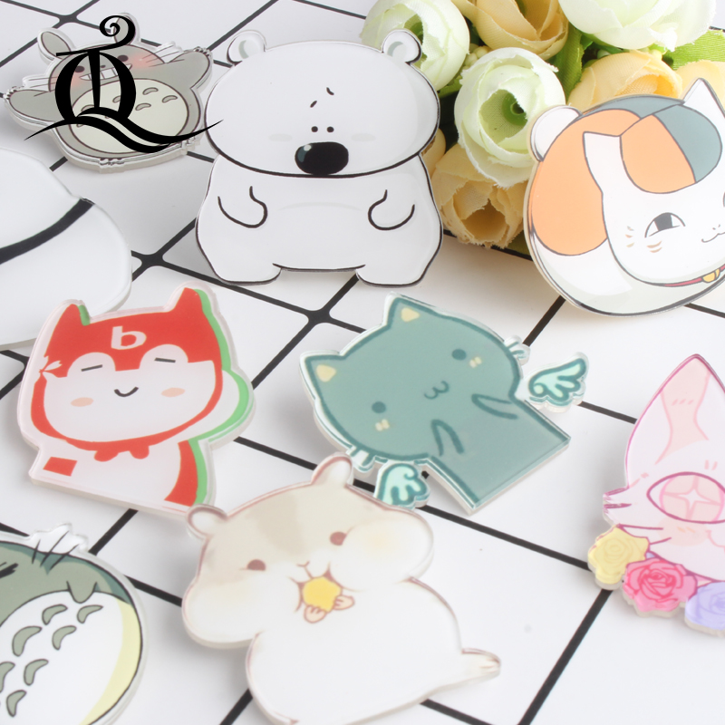 mix 1pc shirt leuke cartoon broche acryl badge pennenset tas verpakkingstas decoratie panda dierlijke hond kat fruit broche badge, no80