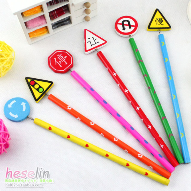 Us 1121 8277free Shipping Wholesale Novelty Creative Pencil Cartoon Traffic Signs Wooden Penciloffice And School Supplies In Standard Pencils