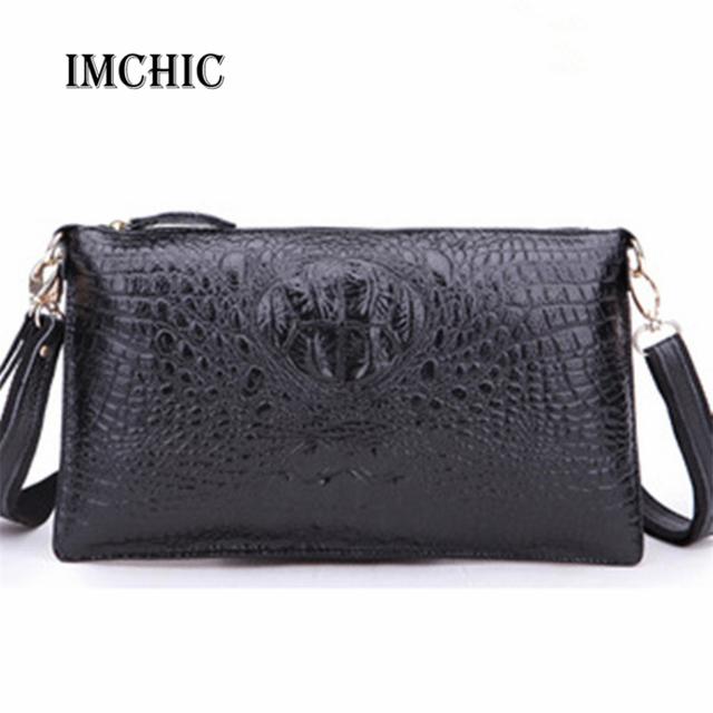 IMCHIC Women Clutch Bags Vintage Split Leather Crocodile Pattern Envelope Shoulder Ladies Small Messenger Handbag Female Gift