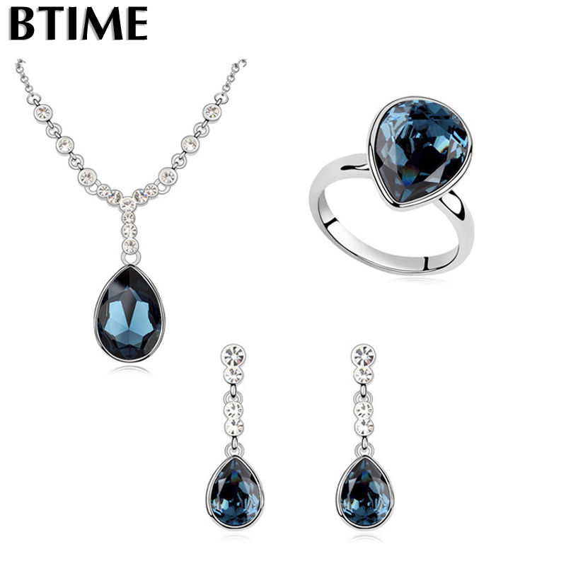 b42cae116b Btime Classical Jewelry Sets Made With Genuine Crystal from swarovski Drop Necklace  Earrings Ring Women Wedding