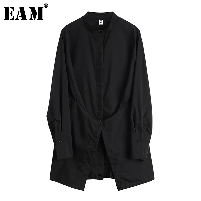 [EAM] 2020 New Spring Autumn V-neck Long Sleeve Brief Pleated Irregular Temperament Button Shirt Women Blouse Fashion Tide JX982