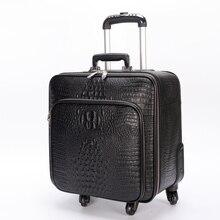 Первый слой из воловьей кожи сумка Полный натуральная кожа коммерческий багажа тележки багаж чемодан, кольцо коммерческих дорожная сумка