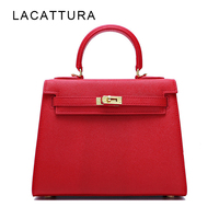 LACATTURA Famous Paris Brand Design Women Handbags Genuine Palm Lines Cowskin Saffiano Shoulder Bag Classic Type