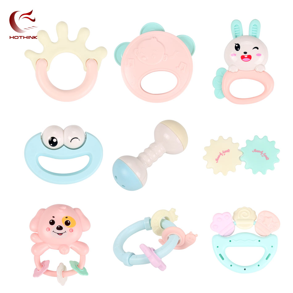Cute Baby Toys Rattles Teether Hand Bells 3 12 Months baby Teething new born children Development Infant Early Educational toys