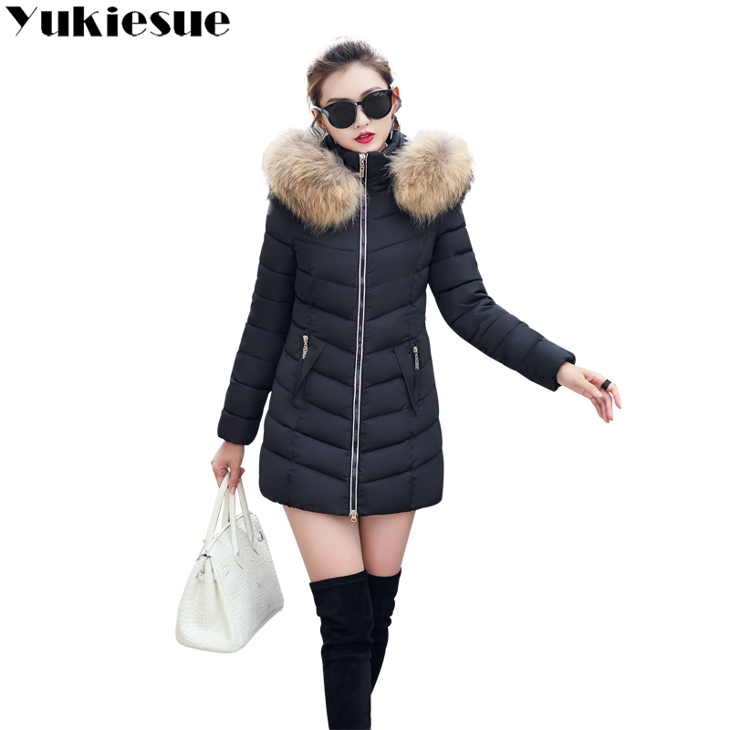 2018 winter women hooded coat fur collar thicken warm long jacket female plus size 4XL outerwear   parka   ladies chaqueta feminino