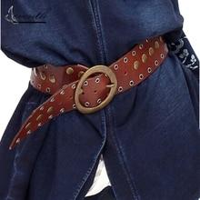 2017 Brand New Vintage Style Handmade Irregular Rivet Faux Leather Fashion Belt Dress Shirt Belts Women Cintos Femininos