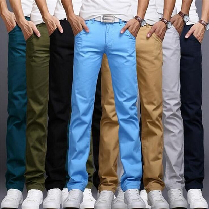Men Fashion Brand Spring And Autumn Korea Style Solid Color Slim Fit Straight Pants Male Smart Casual Black Khaki Trousers Pants