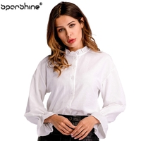 2018 Short Sleeve White Chiffon Blouses Women Clothing Summer Woman Casual Blouse New Shirts Blusa Stand