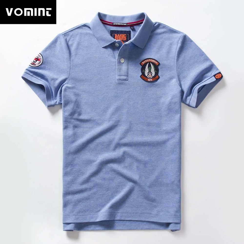 Vomint 2019 Summer New Mens Cotton   Polo   shirts Short Sleeve Solid Color Simple shirt for Male fashion Poloshirts M-3XL BP6910