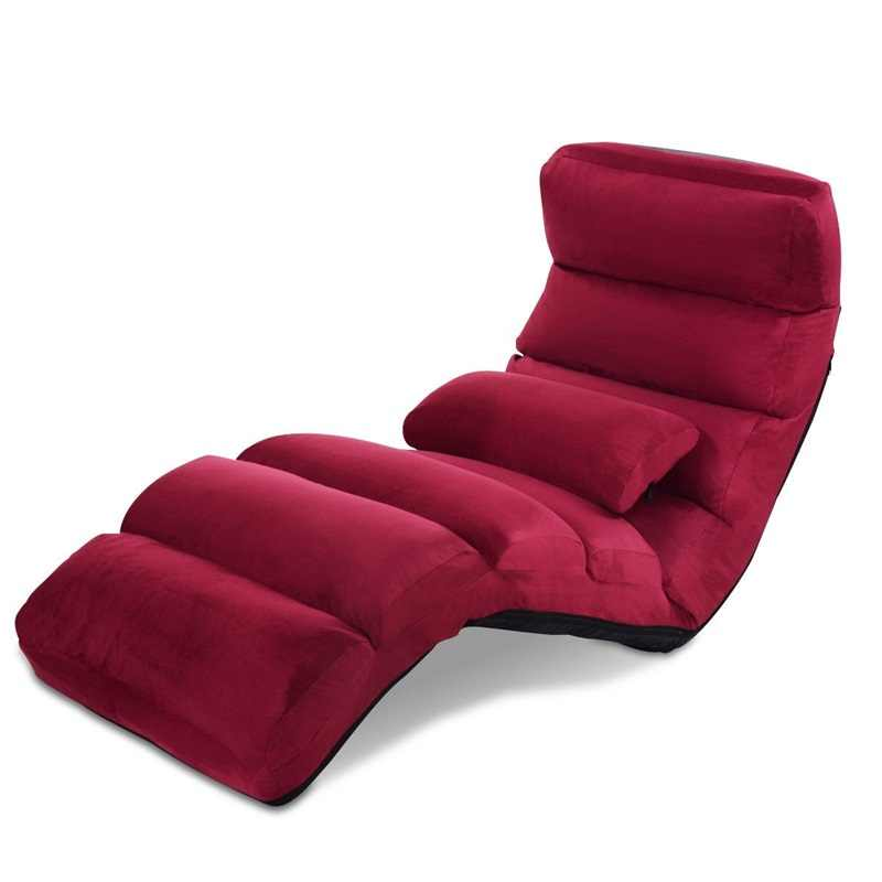 מתקפל ספה עצלנית ספה עם כרית עם עמיד פלדת מסגרת שכיבה סט מתכוונן בכל עמדת חיבור HW53981