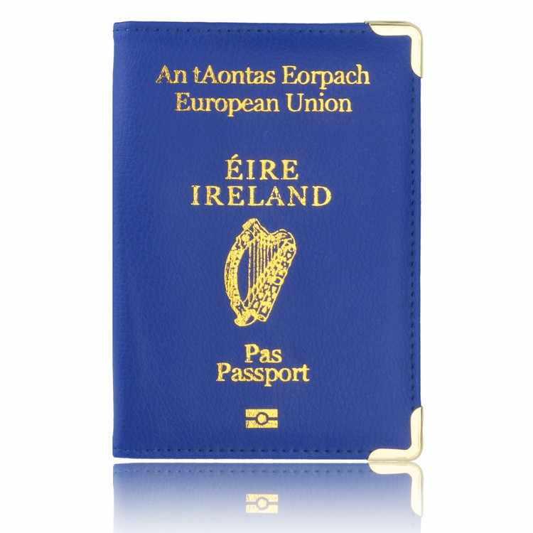 Nieuwe Ierland Reizen Paspoorthouder Protector Case voor Ierland Lederen Paspoort Cover & Credit Kaarthouder Case