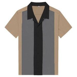 Image 2 - Charlie Harper koszula w paski w pionowe paski koszule dla mężczyzn 50s Rockabilly guzik do koszuli w dół bawełniane koszule z krótkim rękawem w stylu Vintage sukienka