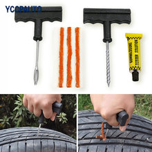 Car Tubeless Tire Tyre Puncture Plug Repair Tools Kits Auto Car Accessories Motorcycle Bicycle Rubber Cement 6pcs/set