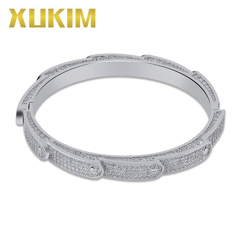 Xukim bijoux vis circulaire pic Bracelet manchette Bracelet Bling or argent couleur glacé CZ Hip Hop bijoux cadeau