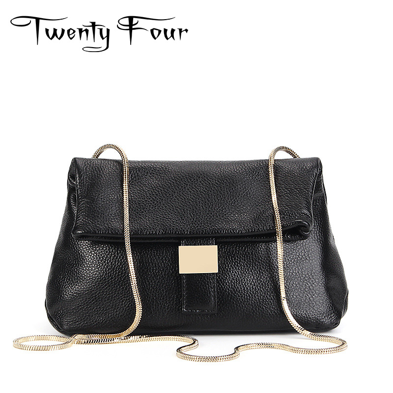 Twenty-four Women Handbag Genuine Leather With Golden Chain Soft Leather Cover Clip Solid Shoulder Bag Lady Cross Body Flap Bags twenty four women brand flap bags natural genuine leather handbags with chain solid color cover small bags young cross body bags
