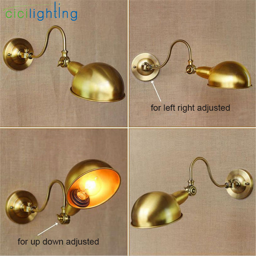 AC100-240 4 directions Wall sconces lamp vintage bronze painted left right up down rotation decorative wall light sconce fixture ac100 240 wall sconces lamp three arms adjustable study restaurant art lights decorative wall light sconce fixture