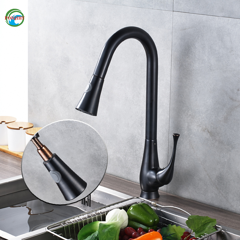 Convenient Kitchen Faucet Pull Out Dual Sprayer Stream Deck Mount Single Hole Hot and Cold Water