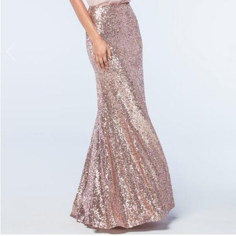 Fashion <font><b>Rose</b></font> <font><b>Gold</b></font> Sequin <font><b>Skirts</b></font> Womens Sexy Invisible Zipper Full Length Sequined Mermaid <font><b>Skirt</b></font> Elegant Saia Cutomized Any Size image