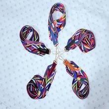 Colorful belt bag strap nylon rainbow color 75*5 shoulder strap ethnic style color bag accessories shoulder slung strap widening