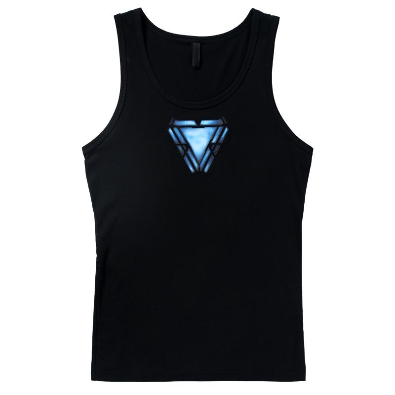 Avengers 4 Endgame Iron Man Reactor Logo Tony Stark Same Movie Short-sleeved Men's Tight Vest Marvel T-shirt Cosplay Costume