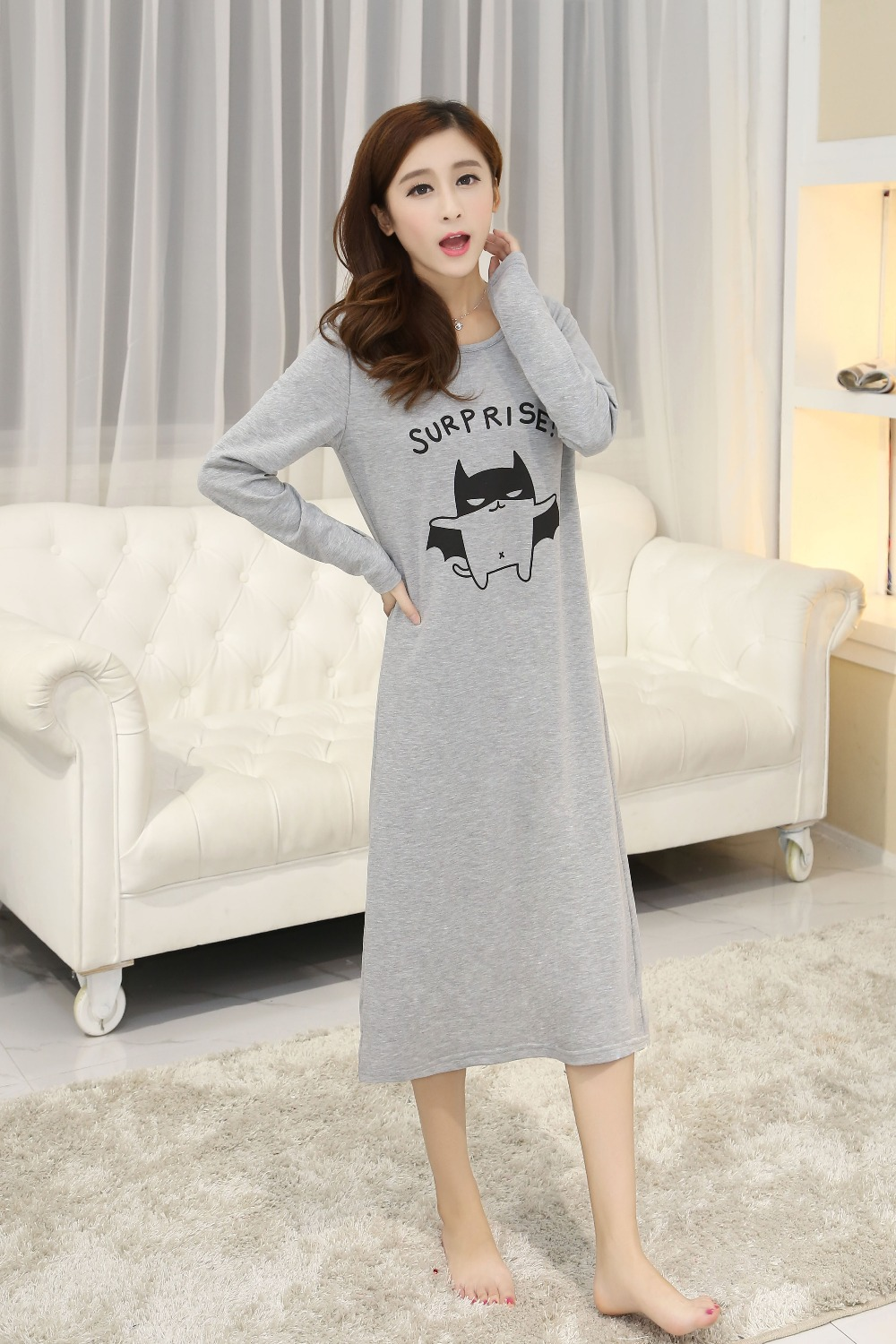 100% medium-long cotton cartoon print t-shirt sleepwear female loose plus  size long-sleeve o-neck nightgown e268100967d4