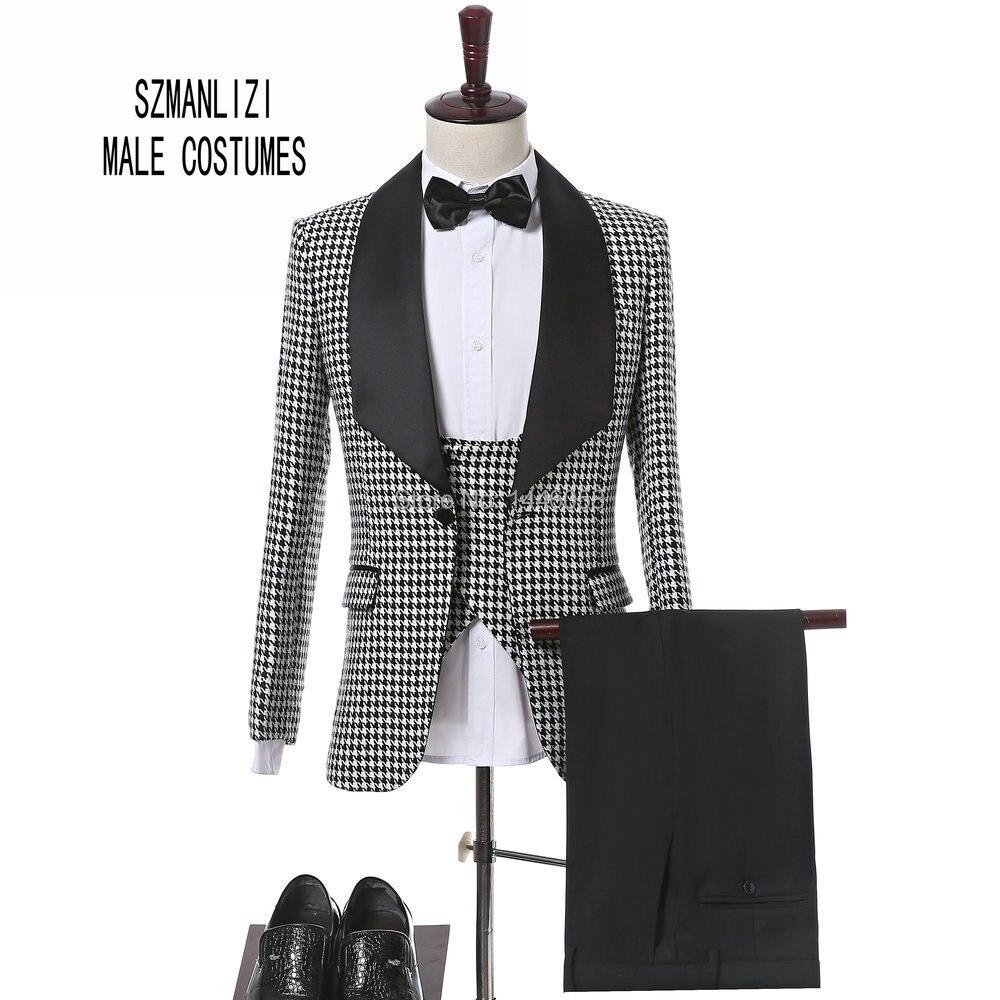 Dernières Manteau Pantalon Conception 2017 Italien Slim Fit Plaid Costume Formel Usure Marié Smoking Garçons D'honneur De Mariage Dîner Costume Marié