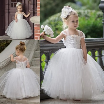 Cute Toddler White Flower Girls Dresses For Weddings Newest Lace Baby Girls Tutu Ball Gown Infant Children Wedding Party Dress