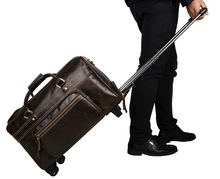 Genuine Cow Leather Travel Trolley Bag Men's Tote Designs Luggage Bag 7317C