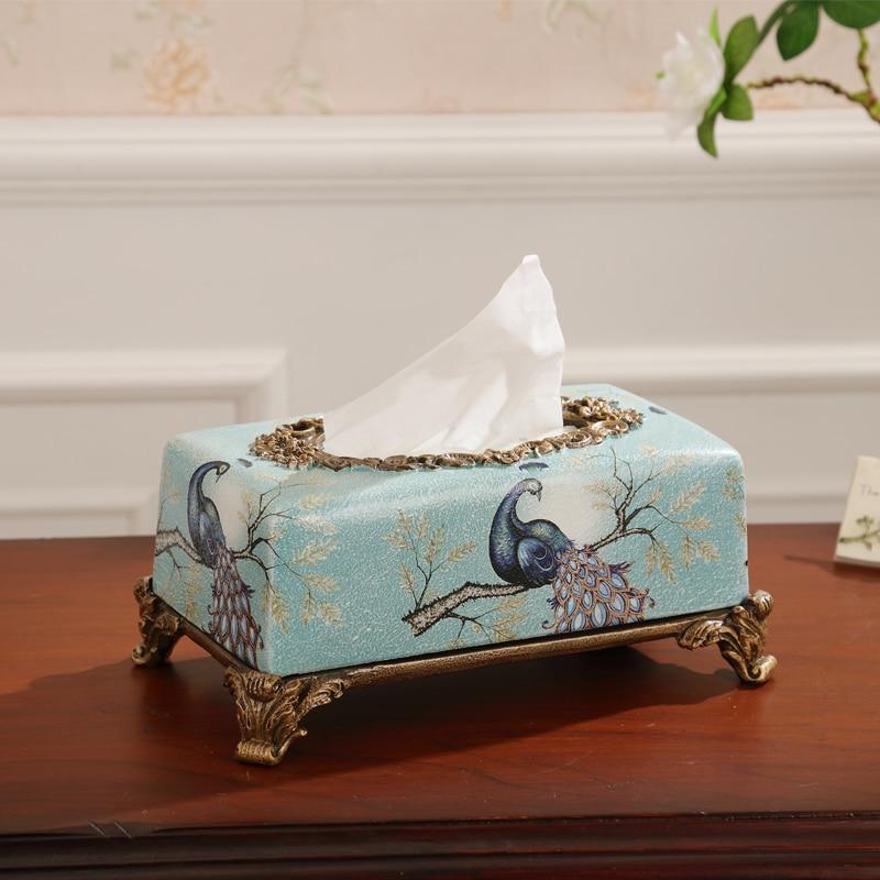 New American boîte boîte à bijoux de paon de style Européen rétro de luxe salon table trois ensembles de ornements