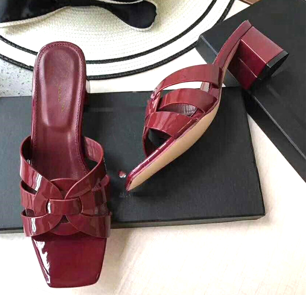 2019 luxury designer shoes for ladies shoes Women Cross Tied slippers women Slides Thick High Heels