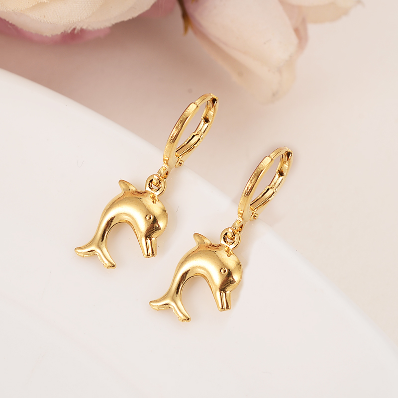 Bangrui cute samll Dolphin Gold Color Copper Earring Women/Gril Gift Lovely Cute Animal Charm Jewelry kids gift diy charms