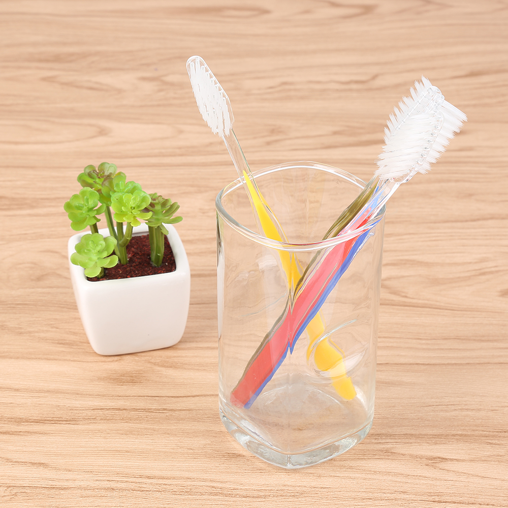 50 Pcs Disposable Toothbrush Travel Inn Motel Hotel Supplies Dual Color Soft Bristle Hotel Supplies Packaged Dual Color Brush image