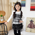 Autumn and Winter Wear New Girls Lace Shirt Korean Large Children Long Sleeved T-shirt Kids Clothing