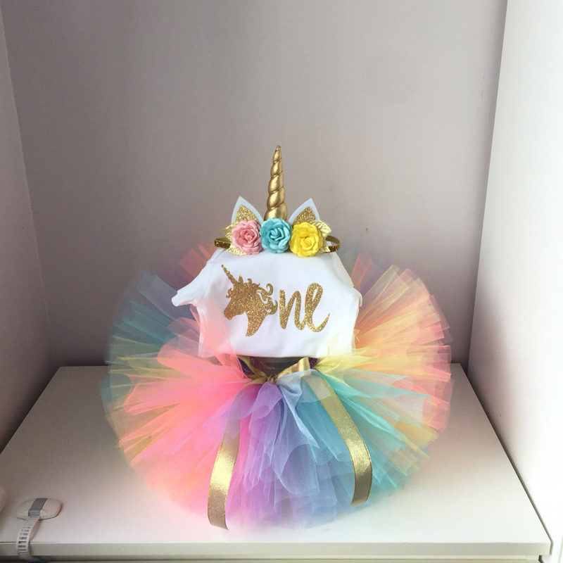 Its My Baby Girl Unicorn Party 1st First Birthday Set Top Colorful Tutu Princess Cake Smash Outfits Infant Dress Sets 12M In Clothing From