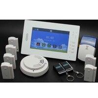 7 дюймов Сенсорный экран GSM сигнализация Главная DIY Системы с 868 мГц Беспроводной охранной сигнализации дистанционного Управление Лер двери