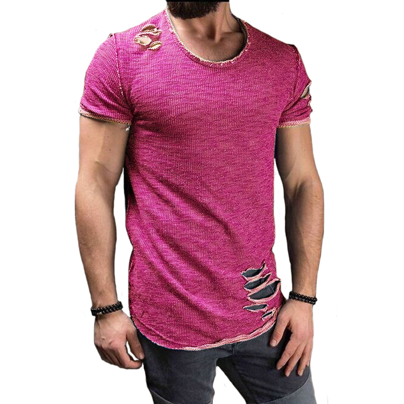 LeeLion 2020 Summer Cotton T Shirt Men Fashion Hole Short Sleeve T-shirt Solid Slim Fit O Neck Tops Casual Tshirt DropShipping Men Men's Clothings Men's Tee Men's Tops cb5feb1b7314637725a2e7: black|Blue|gray|Pink|Purple