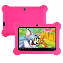 Android4.4 Q88 7 pulgadas Quad Core 1.5 GHz Tablet PC 1024×600 de Doble Cámara Bluetooth con Funda de Silicona 2500 mAh (Rosa)