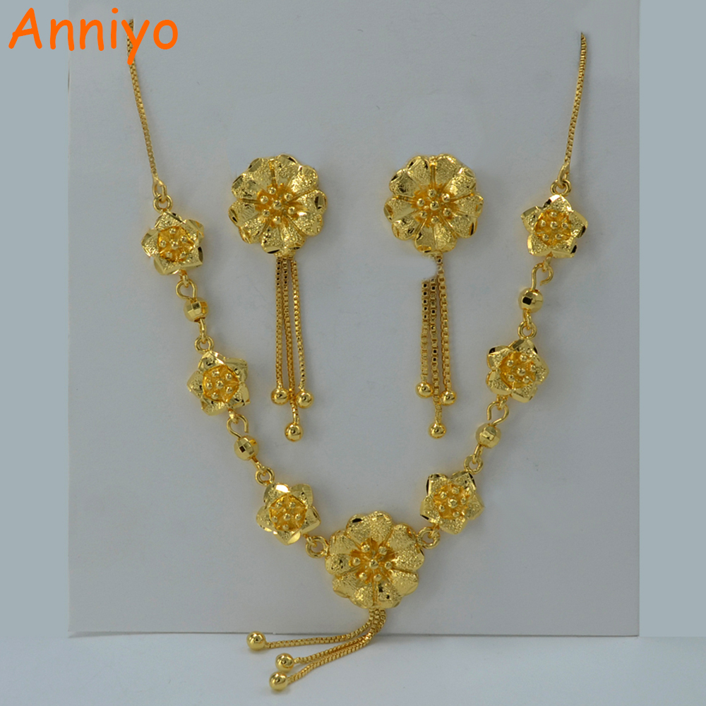 Anniyo Beautiful Flower Set Jewelry Gold Color Necklace