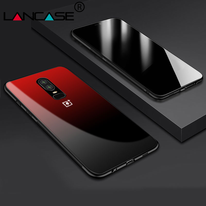 new arrival 94e20 5f1f6 LANCASE Tempered Glass Back Cover For Oneplus 6 Case Luxury Gradient ...