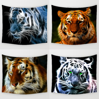 Comwarm 3D Light Tiger Pattern Wall Hanging Mural Durable Polyester Printed Tapestry 59 X 51 Inches Home Decorative Oil Painting