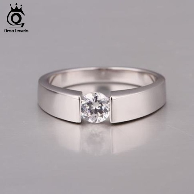 ORSA JEWELS 2018 Popular Silver Color Ring Model with Clear AAA Grade CZ Hot Sal