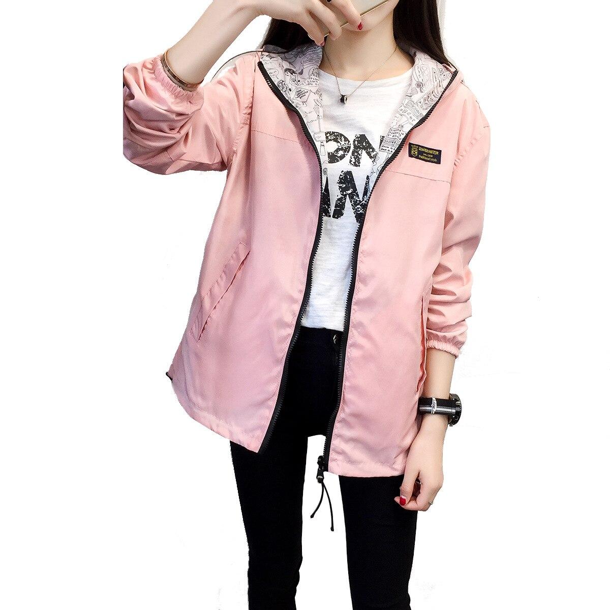 Danjeaner Spring Autumn 2018 Fashion Women Jacket Coat Pocket Zipper Hooded Two Side Wear Cartoon Print Outwear Loose Plus Size