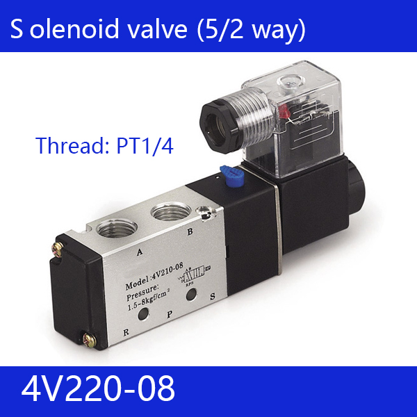Free shipping 1pcs good qualty 5 port 2 position Solenoid Valve 4V220-08,have DC24v,DC12V,AC24V,AC36V,AC110V,AC220V,AC380V free shipping 5 way 2 position 1 4 airtac solenoid valve 4v210 08 dc24v dc12v ac110v ac220v ac380v