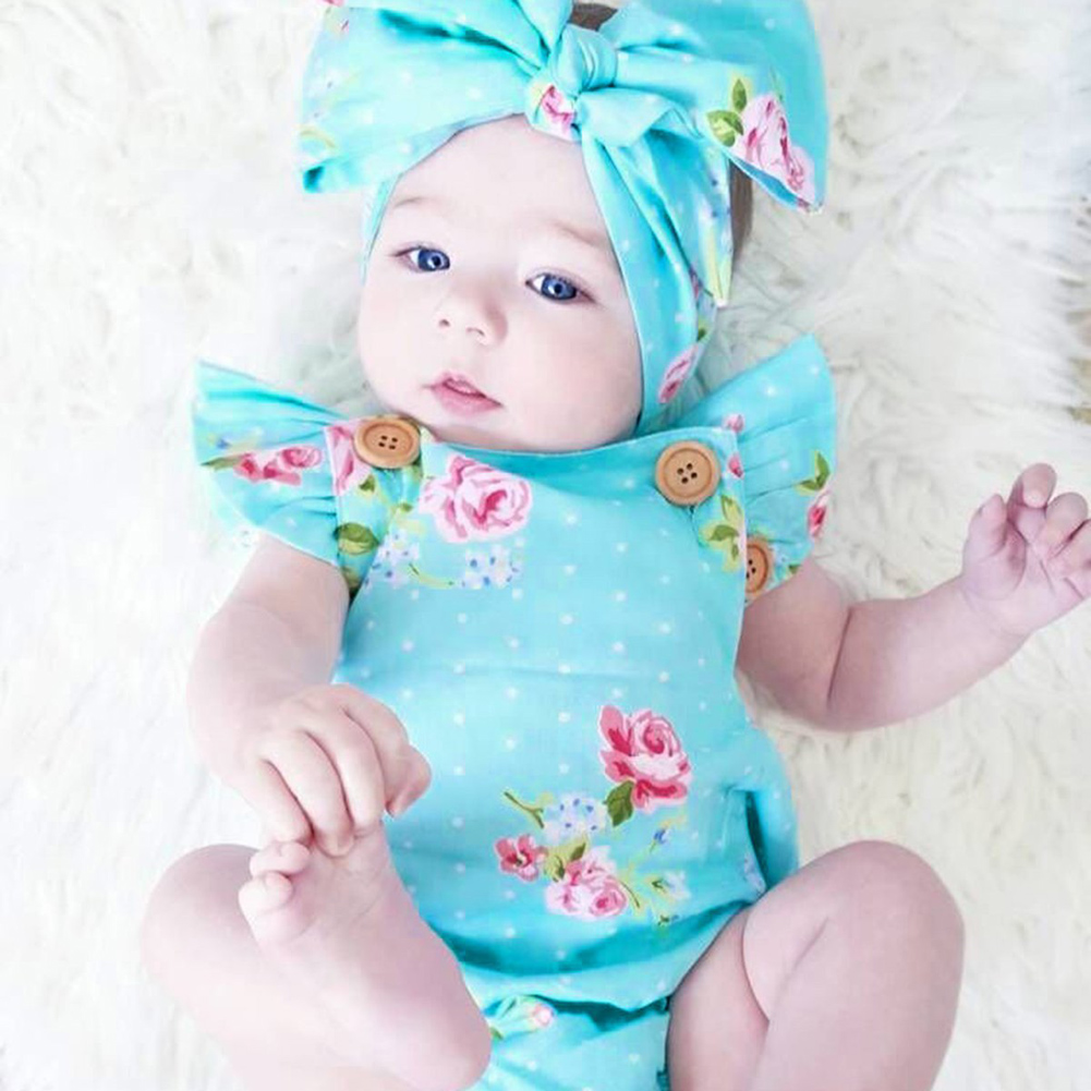 Newborn Baby Infant Soft Romper Casual Summer Girls Floral Print Romper One-piece Jumpsuit Clothes Outfits for 0-18 Month Baby unisex winter baby clothes long sleeve hooded baby romper one piece covered button infant baby jumpsuit newborn romper for baby
