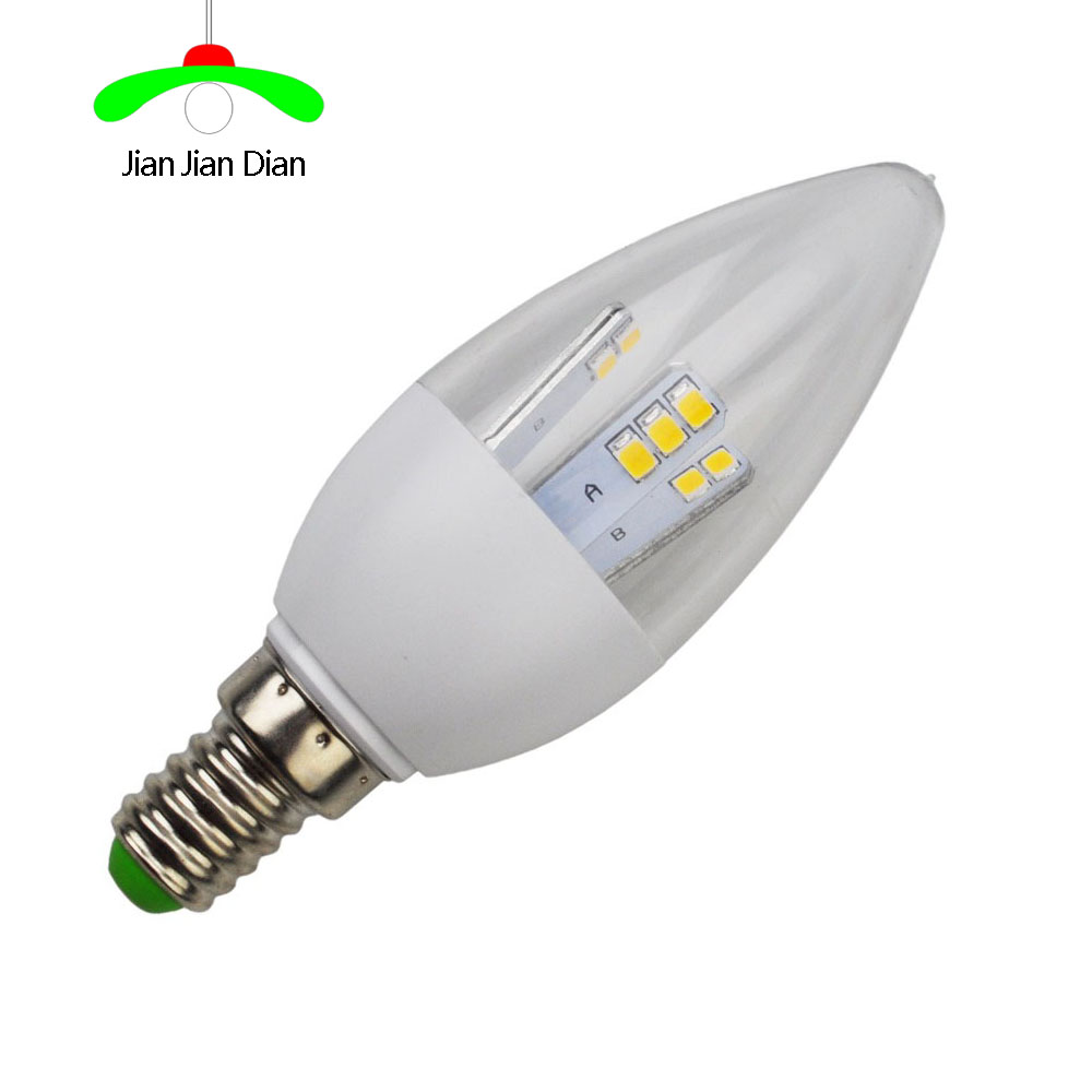 1xNew dimming Led Light Bulbs E12 E14 E27 B15 B22 2835 SMD 5W led candle light bulb lamp white/warm AC110-220V for chandelier